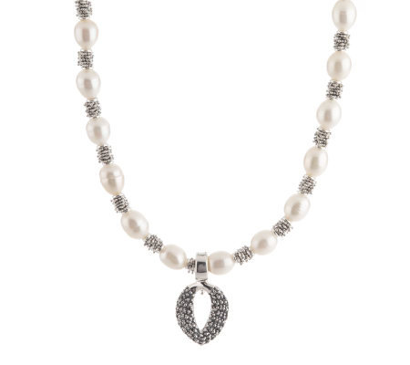 "Michael Dawkins Sterling Rondel Cultured Pearl 20"" Necklace with Enhancer"