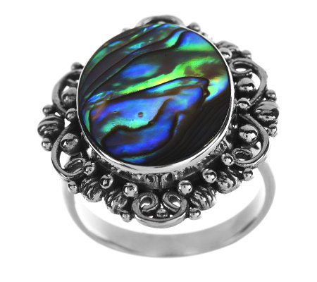 Artisan Crafted Sterling Abalone Scroll Design Ring