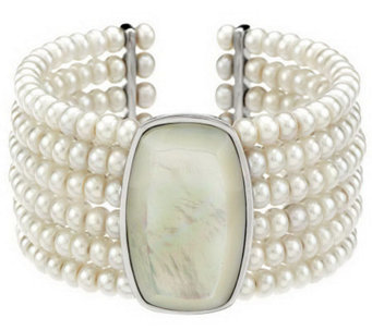 Honora Cultured Pearl Wide Mother-of-Pearl Multi-row Cuff - J271729