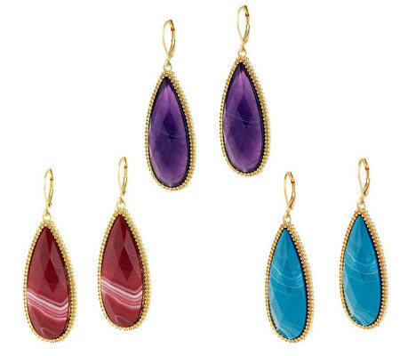 Susan Graver Set of 3 Teardrop Cabochon Earrings