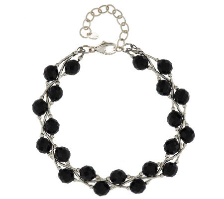 Black Spinel Faceted Bead & Liquid Silver Sterling Bracelet