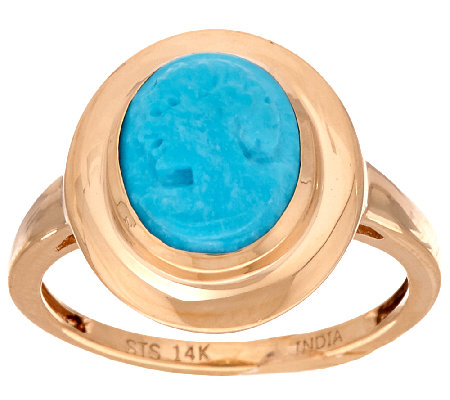 Sleeping Beauty Turquoise Cameo Carved Ring 14K Gold