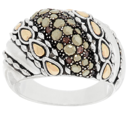 JAI Sterling & 14K Accent Marcasite & Diamonique Ring