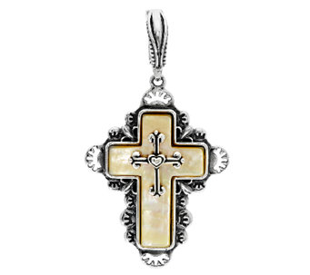 Golden Mother-of-Pearl Sterling Cross Enhancer by American West - J293529