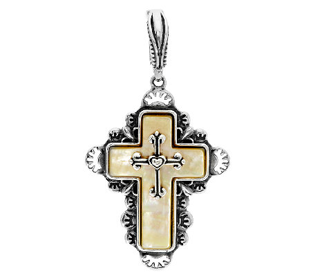 Golden Mother-of-Pearl Sterling Cross Enhancer by American West
