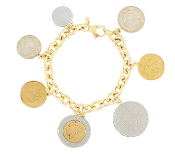 """As Is"" Veronese 18K Clad 7-1/4"" Lire Coin Charm Bracelet - J294429"