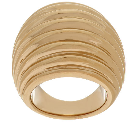 14K Gold Bold Polished Ribbed Design Domed Ring