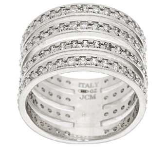 VicenzaSilver Sterling Diamonique 4-Row Band Ring - J296229