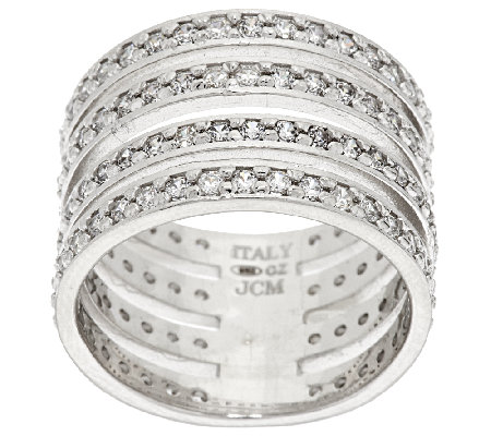 VicenzaSilver Sterling Diamonique 4-Row Band Ring