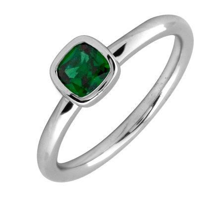 Simply Stacks Sterling & Cushion Cut Created-Emerald Ring