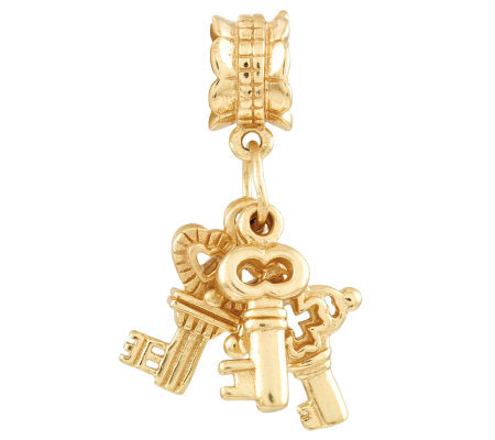 Prerogatives Gold-Plated Sterling Three Keys Dangle Bead