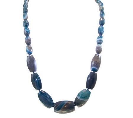 "HUEtopia Sterling 36"" Graduated Faceted Lace Agate Necklace"