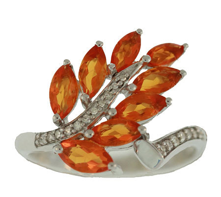 1.00 ct tw Fire Opal & Diamond Accent Leaf Ring, Sterling
