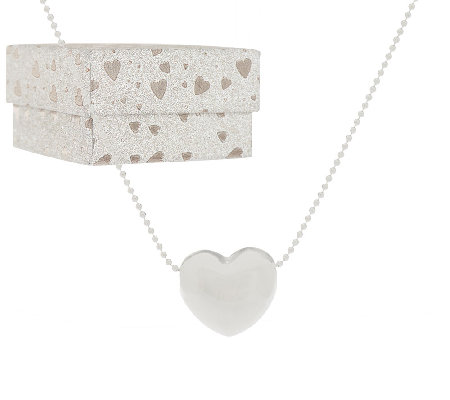 "Silver Style Sterling Heart Pendant w/ 18"" Chain & Gift Box"