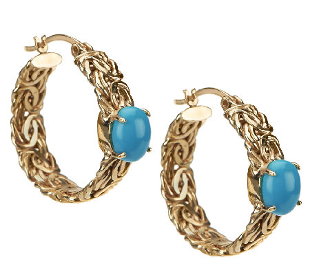 """As Is"" 14K Gold Turquoise Byzantine Hoop Earrings"