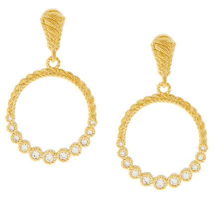 Judith Ripka Sterling & 14K Clad 1/2 ct tw Diamonique Hoop Earrings