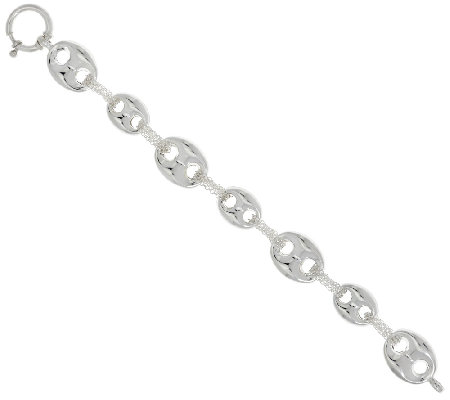 "Sterling Silver 8"" Marine Link Bracelet by Silver Style"