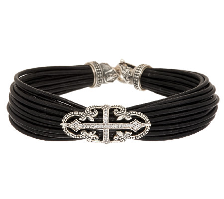 Scott Kay Filigree Cross Multi-Strand Leather Bracelet
