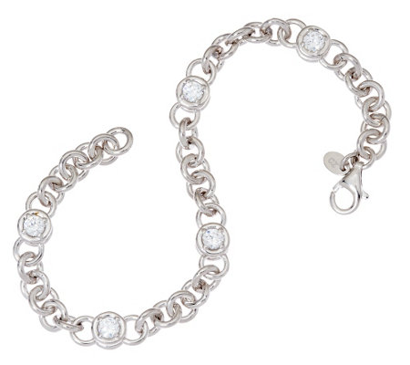 "Diamonique 2.50 cttw 7-1/4"" Line Bracelet, Sterling"