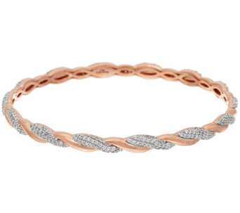 Bronze Crystal Polished & Twisted Bangle by Bronzo Italia - J321429