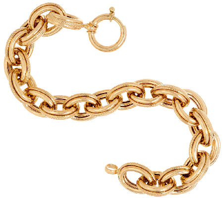 "14K Gold 7-1/4"" Polished & Textured Oval Rolo Link Bracelet, 15.5g"