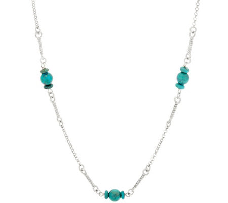 "Vicenza Silver Sterling 30"" Turquoise Bead Station Necklace"
