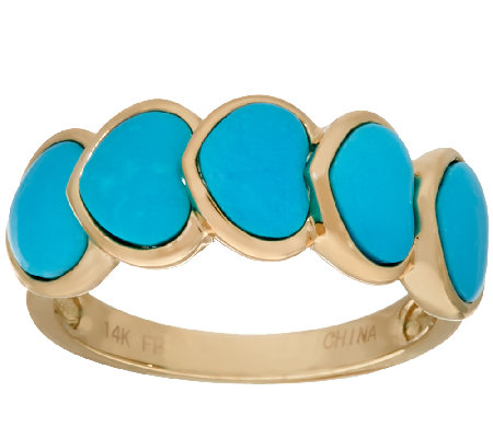 Sleeping Beauty Turquoise 5-Stone Heart Design Ring 14K Gold