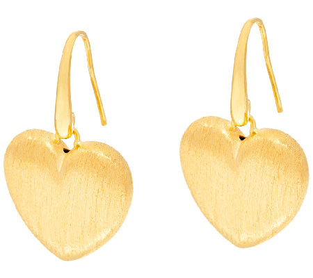 Veonese 18K Clad Satin Finish Heart Dangle Earrings