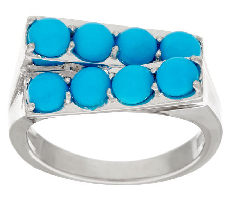 Sleeping Beauty Turquoise Geometric Design Sterling Silver Ring