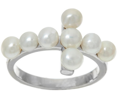 Honora Cultured Pearl 4.0mm Horizontal Cross Sterling Ring