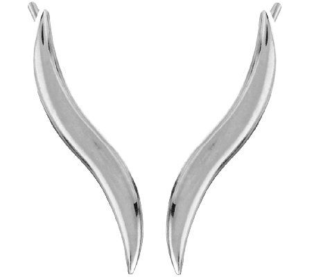 """As Is"" Sterling Silver Wave Design Earrings by Silver Style"