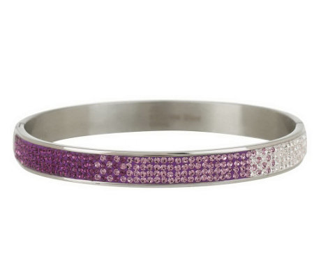 """As Is"" Steel by Design Ombre Crystal Design Bangle Bracelet"
