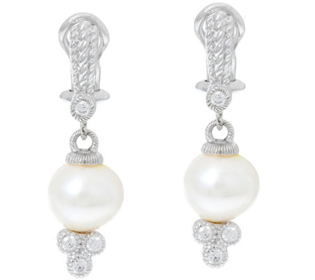 Judith Ripka Sterling Cultured Freshwater Pearl Earrings