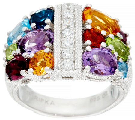 Judith Ripka Sterling Silver 4.0 cttw Multi-gemstone Diamonique Ring