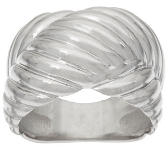 """As Is"" Vicenza Silver Sterling Ribbed ""X"" Design Ring - J329829"