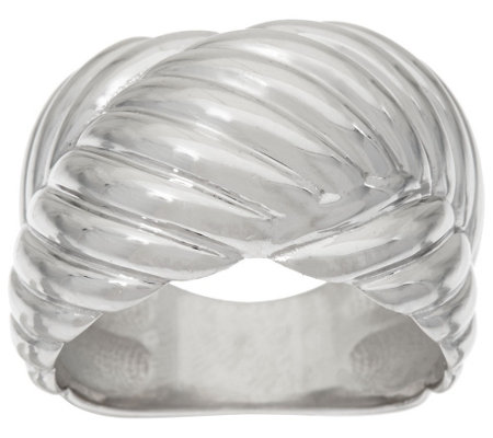 """As Is"" Vicenza Silver Sterling Ribbed ""X"" Design Ring"