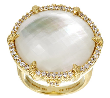 """As Is"" Judith Ripka Sterling & 14K Gold Clad Mother-of-Pearl Doublet Ring"