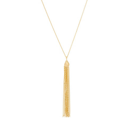 "14K Gold 18"" Tassel Necklace, 2.4g"