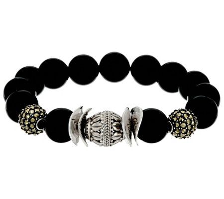 Luv Tia Sterling & Black Onyx Bead Stretch Bracelet