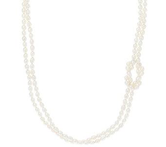 "Honora Cultured Pearl 4.5mm Knot Design 24"" Sterling Necklace - J330429"