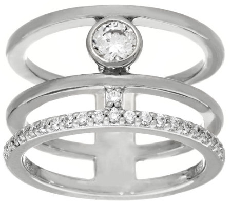 """As Is"" Diamonique Triple Band Ring, Sterling or Two-Tone"