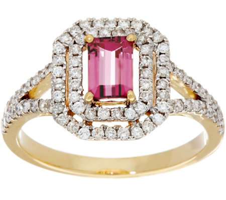 Emerald Cut Pink Tourmaline & Pave' Diamond Ring, 14K Gold 0.50 ct