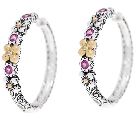 Barbara Bixby Sterling & 18K Flower_0.55 cttw Gemstone Hoop Earrings