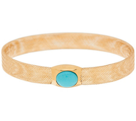 """As Is"" Vicenza Gold Turquoise Cabochon Mesh Stretch Bangle 14K"