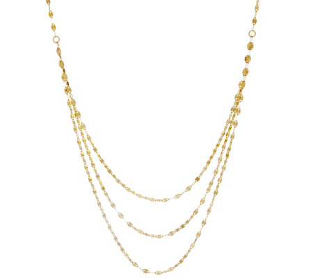 "EternaGold 18"" Triple Mirror Link Necklace 14K Gold, 1.6g"