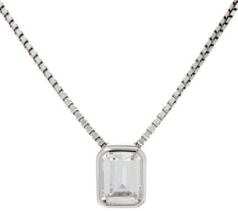 Diamonique Emerald Pendant w/ Adjustable Chain, Sterling, Boxed - J333429
