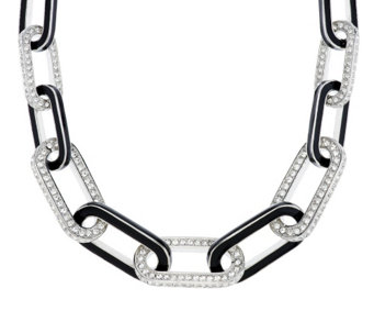 """As Is"" Kenneth Jay Lane's Pave' & Black Enamel Link Necklace - J333929"
