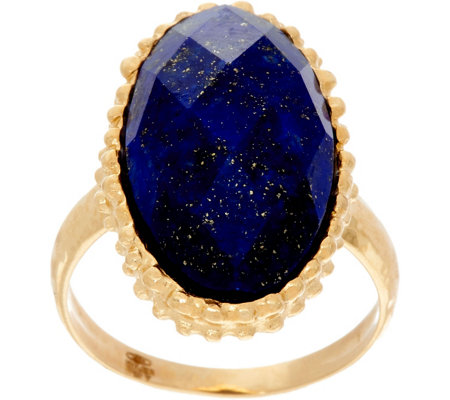 Italian Gold Oval Gemstone Ring 14K Gold