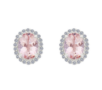 Premier 1.65ct Morganite & 1/5cttw Diamond HaloEarrings, 14K - J336129