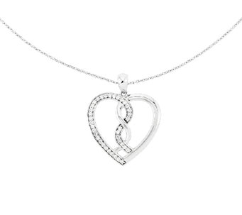"Sentimental Expressions Sterling 18"" ""Hearts Joined"" Necklace - J336329"